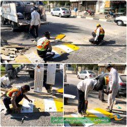 اجرای عملیات تعویض و نصب سرعت کاه در بلوار شهید رجایی قشم